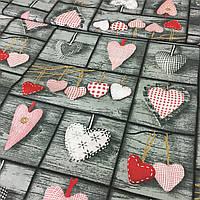 Ткань с сердцами на сером фоне Тильда, ширина 160 см, фото 1