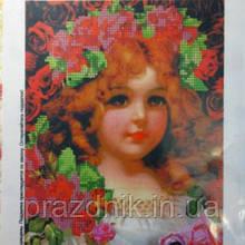 """Схема для вышивания бисером """"Девочка в розах"""""""
