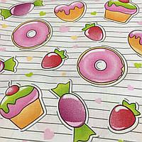 Ткань со сладостями, пирожными