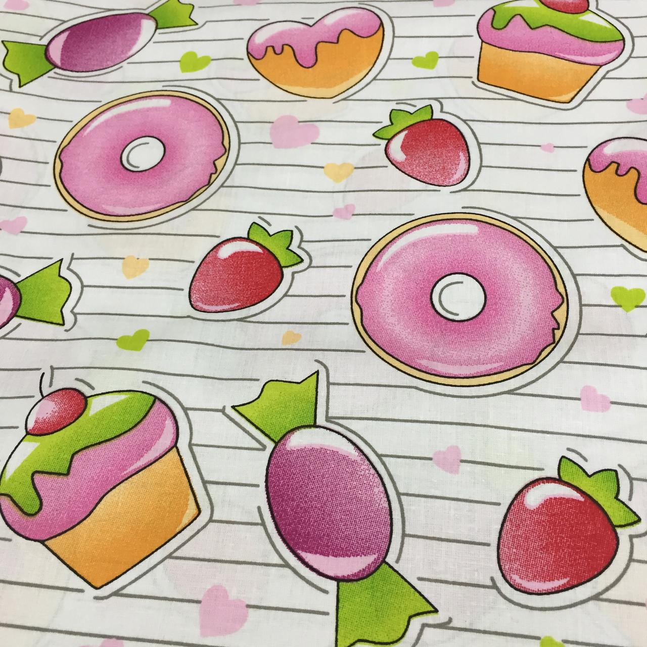 Ткань со сладостями, пирожными, фото 1