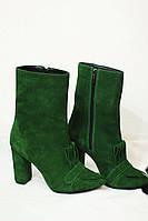 Стильные и комфортные женские ботильоны от TroisRois из натуральной кожи на молнии и бахромы Зеленый