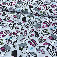 Ткань с мелкими туфельками и сумочками на молочном фоне, хлопок, фото 1