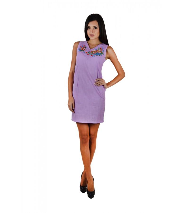 Фиолетовый  вышитый женский сарафан  с вырезом М-1050-3