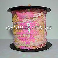 Пайетки на нитке, св.розовые , перламутр, плоские
