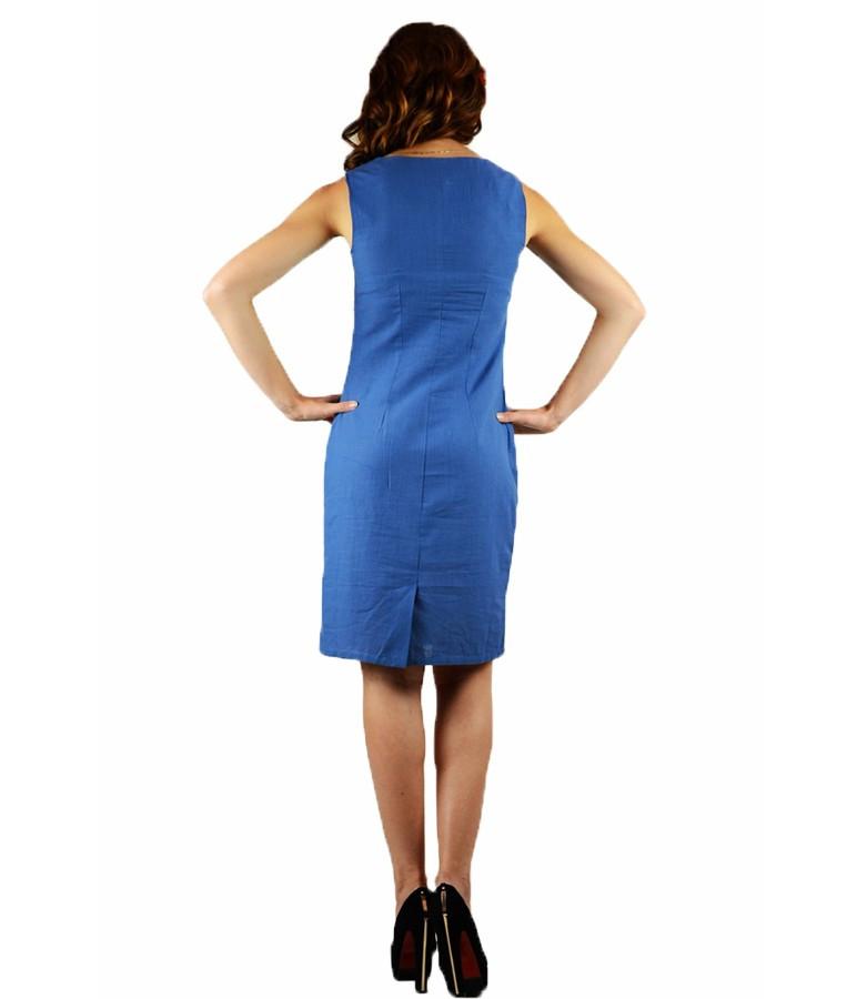 Синий вышитый женский сарафан  М-1050-1