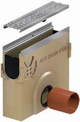 Пескоуловители с кромкой из нержавеющей стали, отводом DN 110 высотой 45 см. к каналам ACO Multiline V 100
