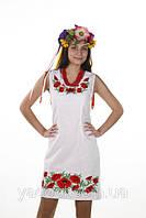 """Платье """"Маковая Роса"""". Лен. Белое Вышитое, фото 1"""