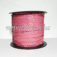 Пайетки на нитке, цвет пыльная роза, плоские, голограмма
