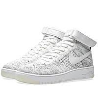 Оригинальные  кроссовки Nike  Air Force 1 Flyknit White & Black