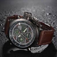 Часы AMST AM3003 черные с коричневым мужские водонепроницаемые противоударные с подсветкой