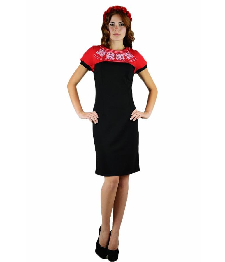 Красное вышитое платье «День-Ночь» М-1020-3