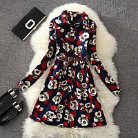 Женское платье рубашка с флисом и длинными рукавами + пояс