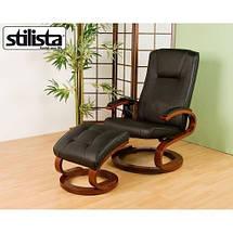 Массажное кресло + пуф STILISTA с подогревом черное, фото 2