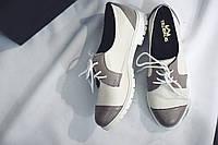 Женские кожаные туфли-лоферы от TroisRois из натуральной турецкой кожи на шнурках