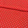 Тканина з дрібної білої точечкой 2 мм (горошки) на червоному тлі, ширина 150 см