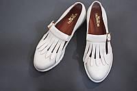 Женские туфли-лоферы от TroisRois из натуральной турецкой кожи с бахромой