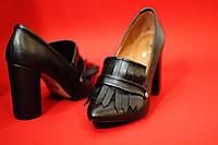 Стильные женские туфли от TroisRois с бахромой - лодочка из натурального замша Черный2