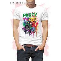 Чоловіча футболка бавовна біла з малюнком PARTY TIME, фото 1