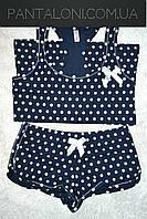 Хлопковая домашняя пижама с майкой и шортами в горошек цвет темно-синий