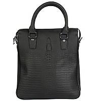 Стильная кожаная сумка для документов под рептилию черная