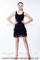 Платье с воланами и сеткой