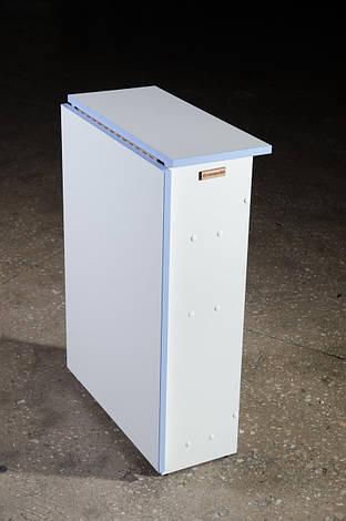 Стіл для манікюру, розкладний, білий з блакитною крайкою., фото 2