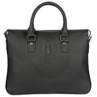 Стильная кожаная сумка для ноутбука и документов формата а4 под рептилию черная