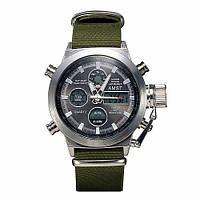 Мужские часы AMST AM3003 серебристые с зеленым водонепроницаемые противоударные с подсветкой