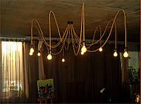 Золотая люстра из текстильных проводов. Осьминог на 12 хвостов.