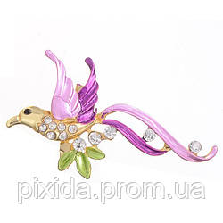 Брошь колибри глазурь фианиты позолота