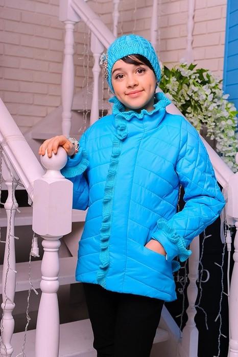 Куртка детская Весенняя «Одри», бирюза, 122-146 рост \ шапка в комплекте