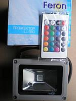 Светодиодный прожектор RGB Feron LL-180: 10 Вт, смена цвета, пульт ДУ, кронштейн для крепления