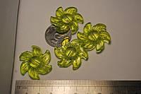 Бусина солнце зеленый  акрил 30 мм