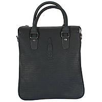 Стильная кожаная сумка для документов под рептилию серо-синего цвета