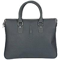 Стильная кожаная сумка для ноутбука и документов формата а4 под рептилию серо-синего цвета