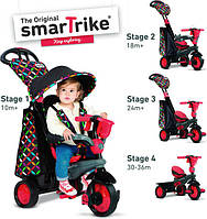 Велосипед 3-х колесный Boutigue Smart Trike 4 в1 с ручкой и корзиной  красный