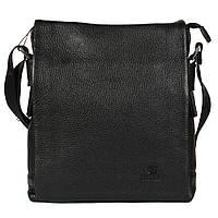 Повседневная мужская сумка из натуральной кожи через плечо черная Lare Boss Italy LB0078181-41