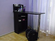 Стіл для манікюру, розкладний, з полицями, чорний.