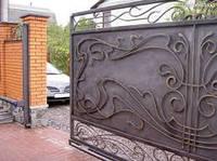 Ворота откатные (сдвижные, раздвижные) автоматические (металлические с элементами ковки).
