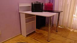 Стол для маникюра, раскладной, с полочками, белый матовый, фото 3