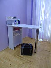 Стол для маникюра, раскладной, с полочками, белый матовый, фото 2
