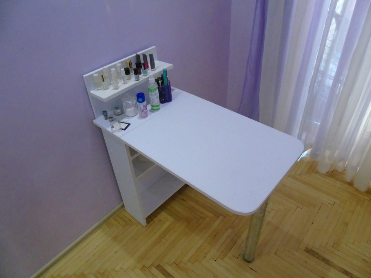 Стол для маникюра, раскладной, с полочками, белый матовый