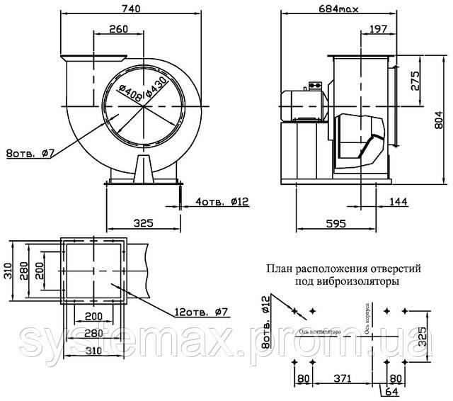 Габаритные и присоединительные размеры центробежного вентилятора ВЦ 4-75 №4