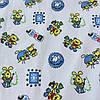 Ситец с разноцветными мишками и зайками на белом фоне
