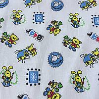 Ситец с разноцветными мишками и зайками на белом фоне, фото 1