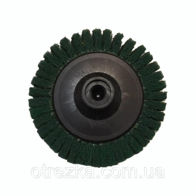 Круг лепестковый скотч-брайт P240   для УШМ 125 мм. М14х2 зеленый Smirdex