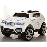 Детский электромобиль на мягких колесах BMW X4 белый M 2392 EBR-1 с кожаным сиденьем