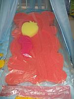 Поролоновый матрасик с мочалками для купания (оранжевый)