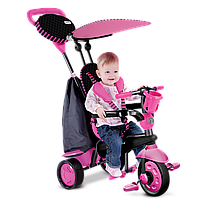 Велосипед  3-х колесный с ручкой и корзиной Smart Trike Spark 4 в 1 розовый