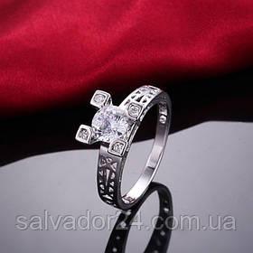 """Женское кольцо """"Эйфелева башня"""" 18К белая позолота, фианиты, 18 размер"""
